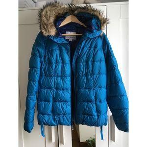Eddie Bauer Down Hooded Puffer Jacket L (blue)